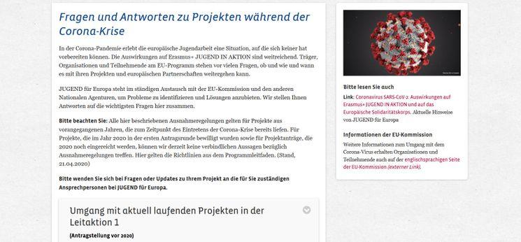 Bild der Webseite mit den FAQs