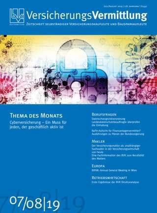 Cover der BVK Mitgliederzeitschrift VersicherungsVermittlung Ausgabe Juli/August | 2019