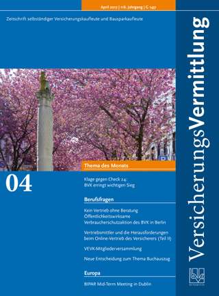 Cover der BVK Mitgliederzeitschrift VersicherungsVermittlung Ausgabe April | 2017