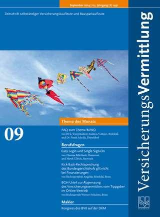 Cover der BVK Mitgliederzeitschrift VersicherungsVermittlung Ausgabe September | 2014