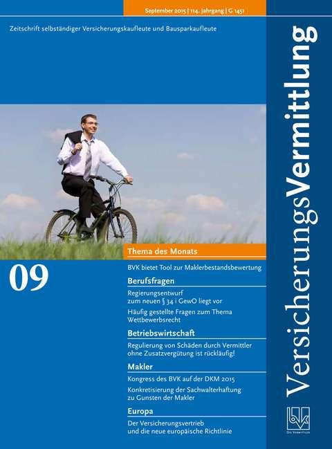 Cover der BVK Mitgliederzeitschrift VersicherungsVermittlung Ausgabe 9   2015