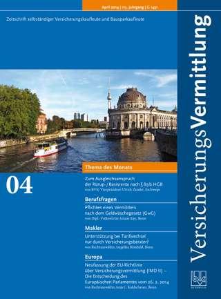 Cover der BVK Mitgliederzeitschrift VersicherungsVermittlung Ausgabe April | 2014