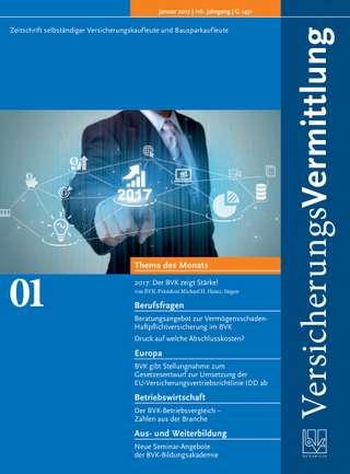 Cover der BVK Mitgliederzeitschrift VersicherungsVermittlung Ausgabe Januar | 2017