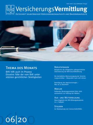 Cover der BVK Mitgliederzeitschrift VersicherungsVermittlung Ausgabe Juni | 2020