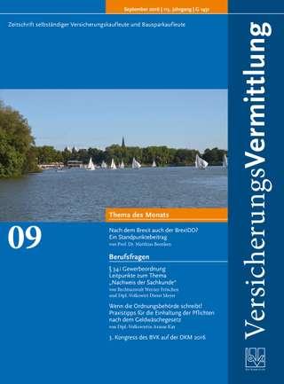 Cover der BVK Mitgliederzeitschrift VersicherungsVermittlung Ausgabe September | 2016