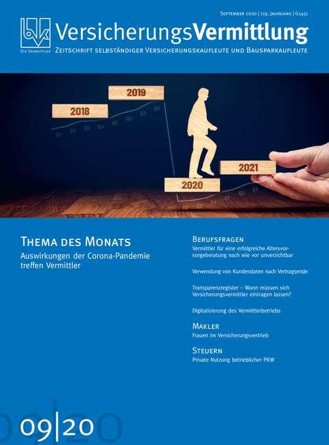 Cover der BVK Mitgliederzeitschrift VersicherungsVermittlung Ausgabe 9   2020