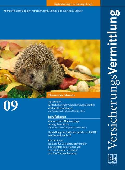 Cover der BVK Mitgliederzeitschrift VersicherungsVermittlung Ausgabe 9   2013