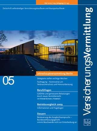 Cover der BVK Mitgliederzeitschrift VersicherungsVermittlung Ausgabe Mai | 2010