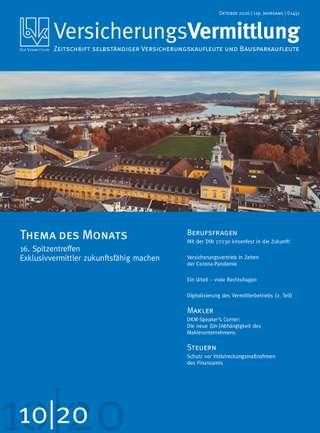 Cover der BVK Mitgliederzeitschrift VersicherungsVermittlung Ausgabe Oktober | 2020