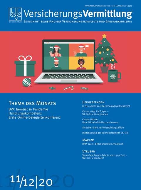 Cover der BVK Mitgliederzeitschrift VersicherungsVermittlung Ausgabe 11/12 | 2020