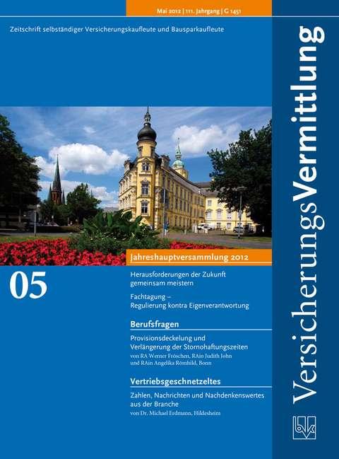 Cover der BVK Mitgliederzeitschrift VersicherungsVermittlung Ausgabe 5   2012