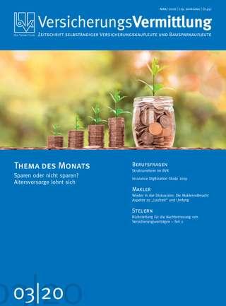Cover der BVK Mitgliederzeitschrift VersicherungsVermittlung Ausgabe März | 2020