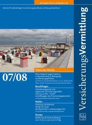 Cover der BVK Mitgliederzeitschrift VersicherungsVermittlung Ausgabe Juli/Aug. | 2016