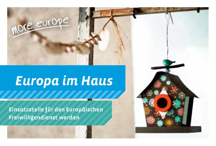Postkarte mit dem Slogan: Europa ist im Haus