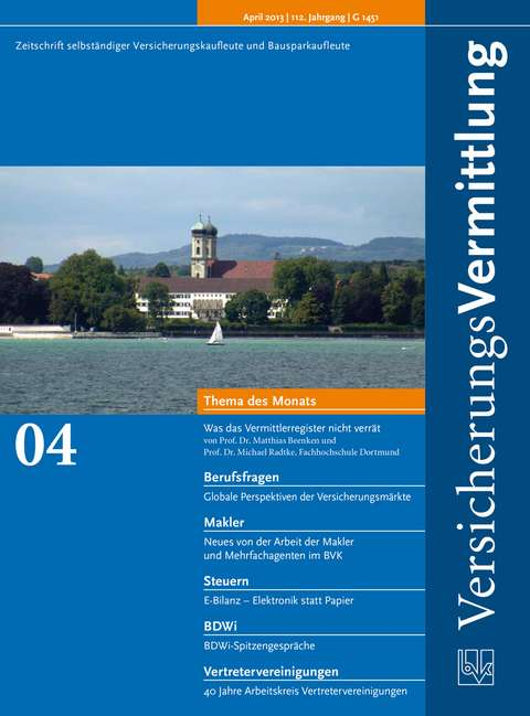 Cover der BVK Mitgliederzeitschrift VersicherungsVermittlung Ausgabe 4   2013