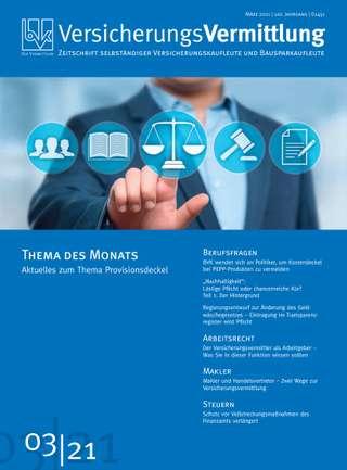 Cover der BVK Mitgliederzeitschrift VersicherungsVermittlung Ausgabe März | 2021
