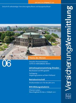 Cover der BVK Mitgliederzeitschrift VersicherungsVermittlung Ausgabe Juni | 2011