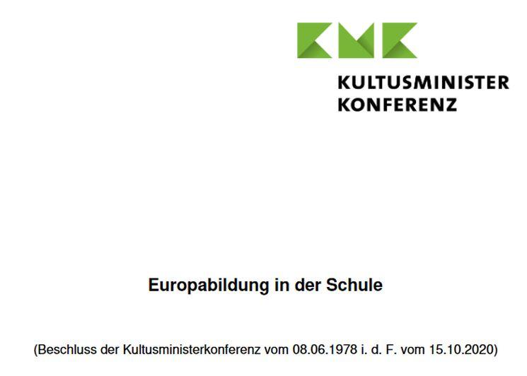 KMK Beschluss Europabildung 20. Oktober 2020
