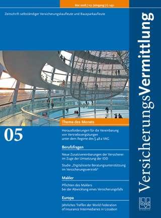 Cover der BVK Mitgliederzeitschrift VersicherungsVermittlung Ausgabe Mai | 2018