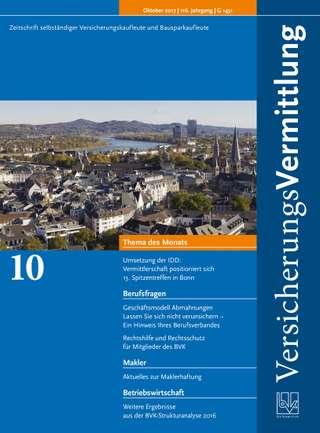 Cover der BVK Mitgliederzeitschrift VersicherungsVermittlung Ausgabe Oktober | 2017