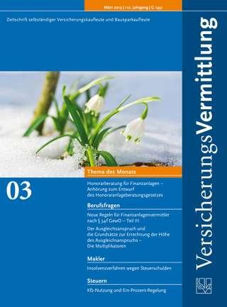 Cover der BVK Mitgliederzeitschrift VersicherungsVermittlung Ausgabe März | 2013