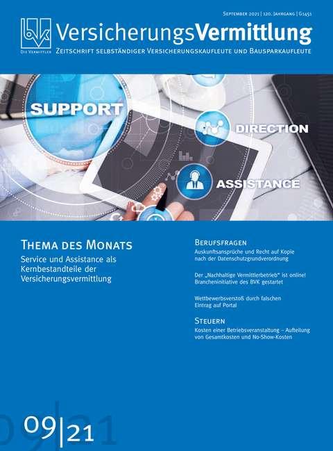 Cover der BVK Mitgliederzeitschrift VersicherungsVermittlung Ausgabe 9   2021