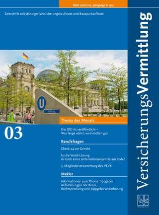 Cover der BVK Mitgliederzeitschrift VersicherungsVermittlung Ausgabe März | 2016