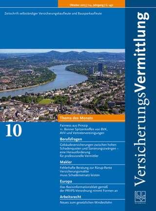 Cover der BVK Mitgliederzeitschrift VersicherungsVermittlung Ausgabe Oktober | 2015