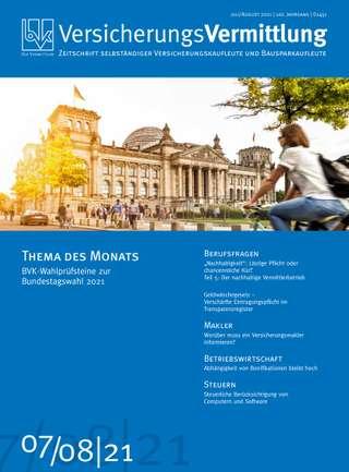 Cover der BVK Mitgliederzeitschrift VersicherungsVermittlung Ausgabe Juli/August | 2021