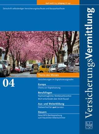 Cover der BVK Mitgliederzeitschrift VersicherungsVermittlung Ausgabe April | 2016