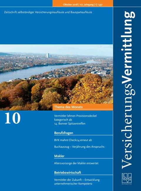 Cover der BVK Mitgliederzeitschrift VersicherungsVermittlung Ausgabe 10 | 2018