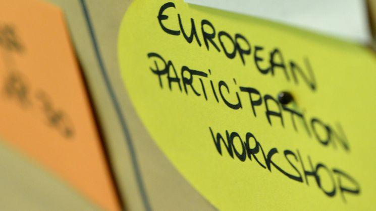 Moederationskarte mit der Aufschrift European Participation