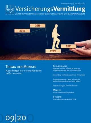 Cover der BVK Mitgliederzeitschrift VersicherungsVermittlung Ausgabe September | 2020