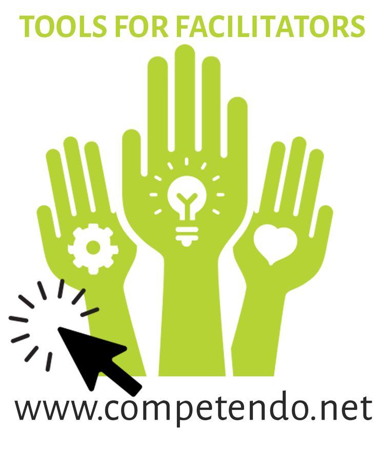 Logo von Competendo: Drei grüne Hände mit der Überschrift Tools for Facilitators