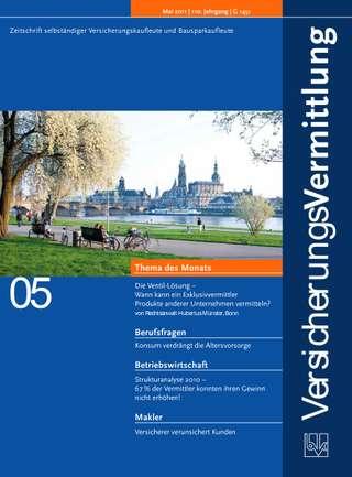 Cover der BVK Mitgliederzeitschrift VersicherungsVermittlung Ausgabe Mai | 2011