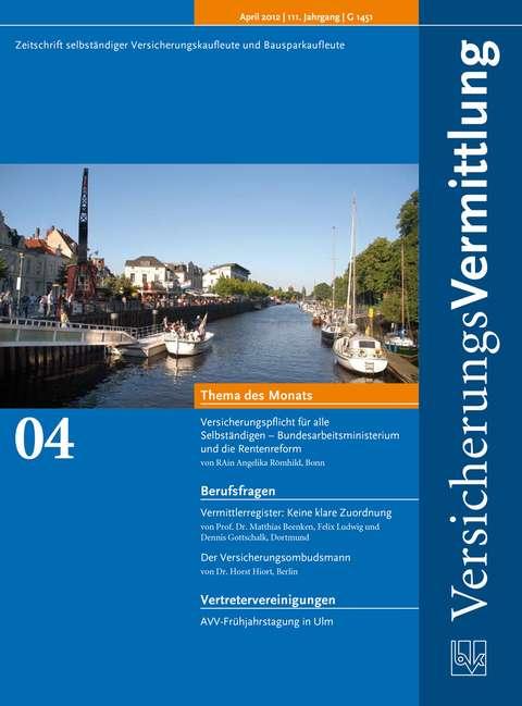 Cover der BVK Mitgliederzeitschrift VersicherungsVermittlung Ausgabe 4 | 2012