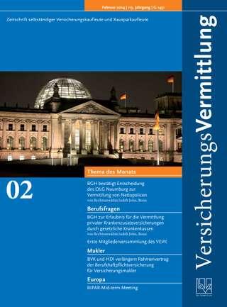 Cover der BVK Mitgliederzeitschrift VersicherungsVermittlung Ausgabe Februar | 2014