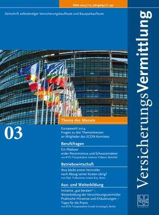 Cover der BVK Mitgliederzeitschrift VersicherungsVermittlung Ausgabe März | 2014