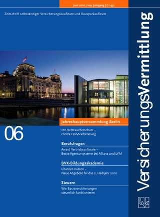 Cover der BVK Mitgliederzeitschrift VersicherungsVermittlung Ausgabe Juni | 2010