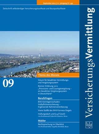 Cover der BVK Mitgliederzeitschrift VersicherungsVermittlung Ausgabe September | 2012