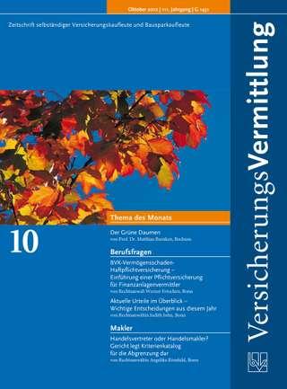 Cover der BVK Mitgliederzeitschrift VersicherungsVermittlung Ausgabe Oktober | 2012