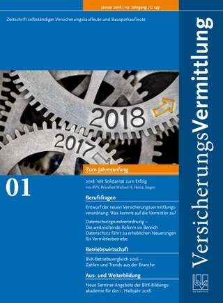 Cover der BVK Mitgliederzeitschrift VersicherungsVermittlung Ausgabe Januar | 2018