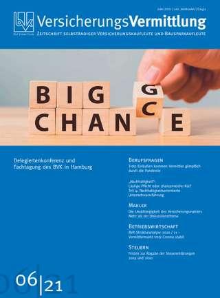 Cover der BVK Mitgliederzeitschrift VersicherungsVermittlung Ausgabe Juni | 2021