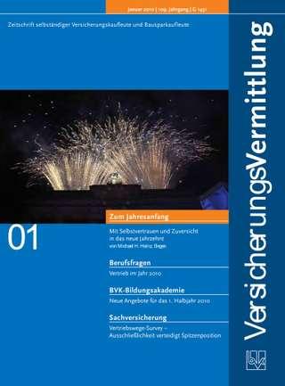 Cover der BVK Mitgliederzeitschrift VersicherungsVermittlung Ausgabe Januar | 2010