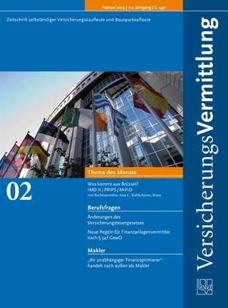 Cover der BVK Mitgliederzeitschrift VersicherungsVermittlung Ausgabe Februar | 2013