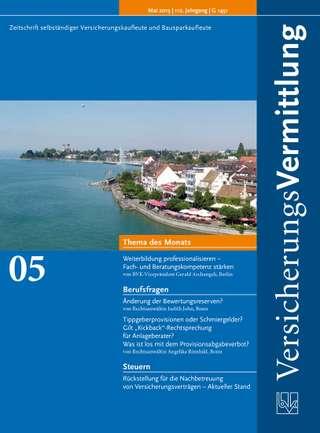 Cover der BVK Mitgliederzeitschrift VersicherungsVermittlung Ausgabe Mai | 2013