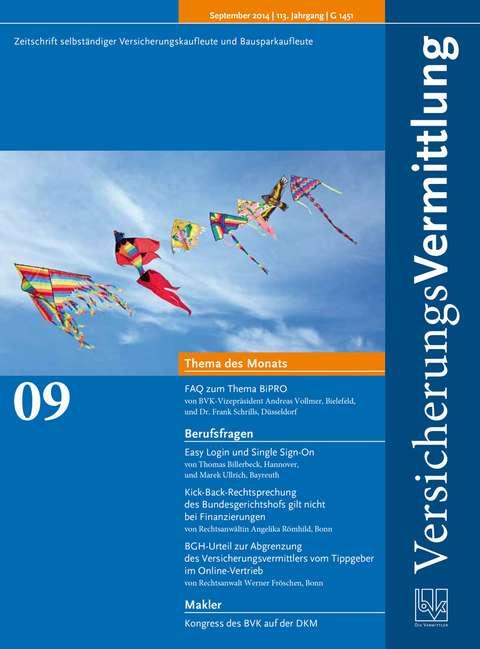 Cover der BVK Mitgliederzeitschrift VersicherungsVermittlung Ausgabe 9 | 2014