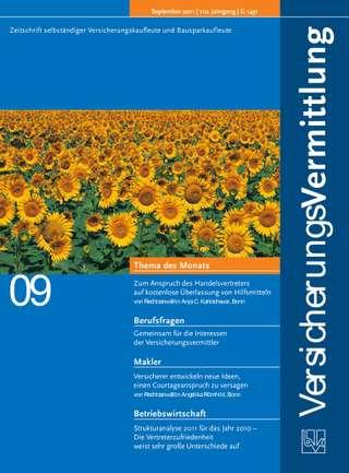 Cover der BVK Mitgliederzeitschrift VersicherungsVermittlung Ausgabe September | 2011