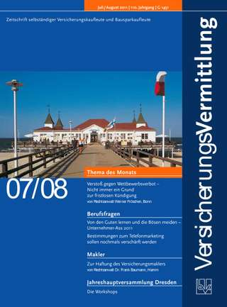 Cover der BVK Mitgliederzeitschrift VersicherungsVermittlung Ausgabe Juli/Aug. | 2011