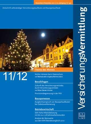 Cover der BVK Mitgliederzeitschrift VersicherungsVermittlung Ausgabe Nov./Dez. | 2011